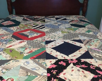 VINTAGE QUILT HAND Stitched and Quilted Multicolored See Details Below