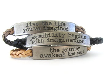 Inspirational Bracelet - Leather Bracelet - Quote Bracelet - Leather Jewelry - Braided Leather Bracelet - Boho Bracelet - UL1219G