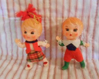 Vintage Boy & Girl Celluloid Ornaments