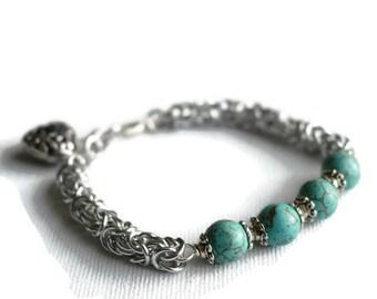 Turquoise Howlite Bracelet - Chainmaille Bracelet - Turquoise Bracelet - Gifts for Mums - Blue Stone Bracelet - Summer Jewellery