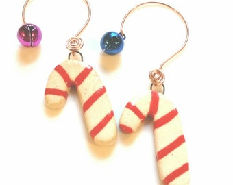 Small Candy Cane Ornament, Ceramic Christmas Ornament, Jingle Bell, Copper Ornament Hanger