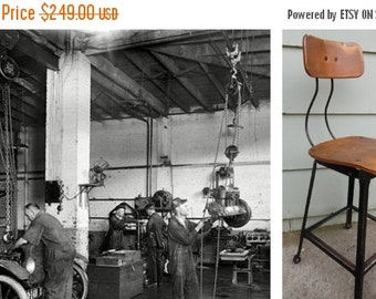 ON SALE Industrial, Drafting Stool, Vintage, 1930's, Machine Age,  Hallowell, Chair, Molded Plywood, Steel, Counter Stool, Shop Stool