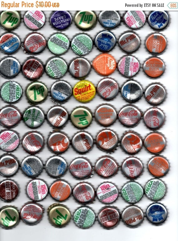 On sale bottle caps soda pop beer set of 63 by for Soda caps for sale