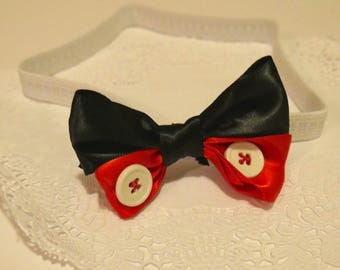 Black, Red, and Buttons Headband Bow for Babies