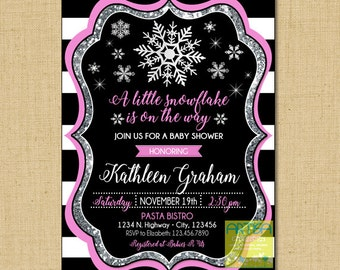 Snowflake Baby Shower Invitation, Little snowflake is on the way, winter baby shower, pink gold winter baby shower, pink silver snowflakes