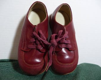 Burgandy Leather Oxfords for Children