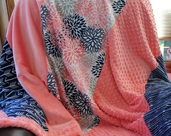 Minky Afghan - Coral Premier Blooms - Navy Arrows - Navy Graphite - Coral Cuddle Dot - Coral Smooth