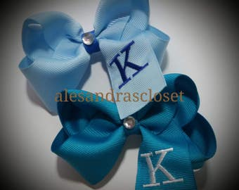 Embroidered Letter K Initial Monogram Hair Bow Girls Toddler Tween Hair Bow Simple Bows Everyday Hair Bows School Spring Summer Hair Bows
