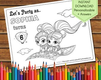 Shimmer and Shine Party Activity Book, Shimmer and Shine Birthday Activity, Shimmer and Shine Coloring Pages, shimmer and Shine Party Favors