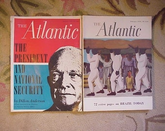 January & February 1956 The Atlantic Monthly Magazines published By Atlantic Monthly Boston, Antique Magazines with lots of Ads