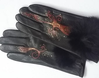 Black Leather Gloves - Hand painted - SIZE 8- ready to ship - autumn - spring - winter - great gift - black - red- orange