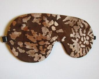 Brown Batik Sleeping Mask, Adjustable Sleep Mask, Batik Eye Mask, Lightweight Sleep Mask