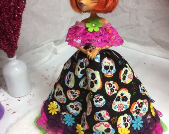 Day of The Dead Colorful Gown for your Monster High Doll - Monster High Doll Clothes