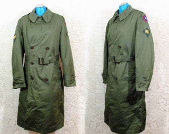 Vtg 60s Vietnam War Wool Lined Long Army Double Breasted Trench Coat sz S