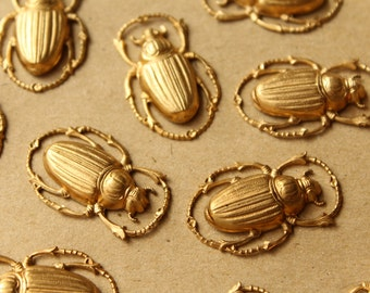 2 pc. Large Raw Brass Scarab Beetles: 32mm by 20mm - made in USA | RB-879