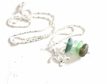 Sea Turtle Necklace   Stacked Sea Glass Necklace   Sea Turtle Charm Ombre Beach Glass Jewelry