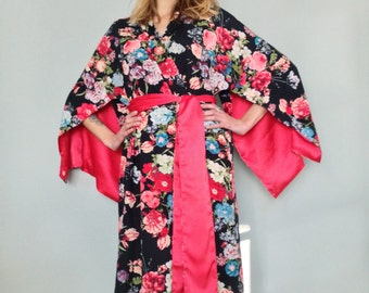 "The ""Haiku"". One custom made long Haiku robe in faux silk crepe with pockets Long kimono robe with pockets Bohemian kimono robe Gift for her"