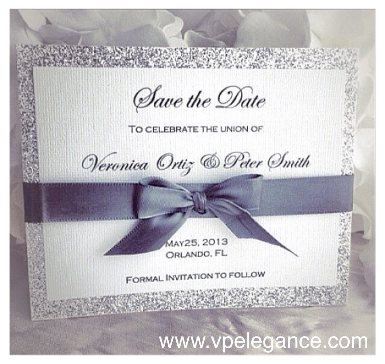 Silver Wedding Save The Dates Silver Save The Date Card