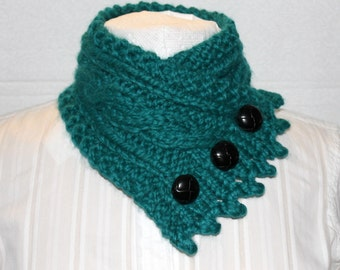 Knit Cowl, Fishermans Wife Cowl, Chunky Cowl, Cable Knit Scarf, Color Peacock Green, Womans Cowl