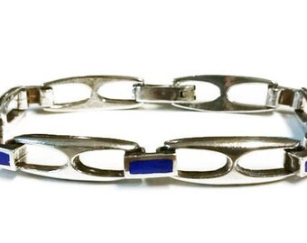 Vintage Sterling Silver Blue  Enamel Chain Link Bracelet Italy