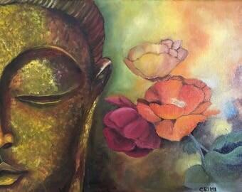 Buddha Art - Buddha Oil Painting - Meditation Art - Original Art - Oil Painting - 16x12