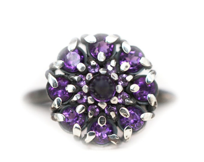 Amethyst anniversary ring - cluster style- silver and amethyst - size 7