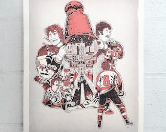 "FREE SHIPPING - ""Broad Street 1974 Bullies"" - Paul Carpenter Art - Philly Artist Print"
