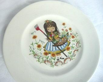 Vintage child's plate - nursery rhyme plate -  retro child's plate - 1970s child's plate - decorative retro plate - English china plate