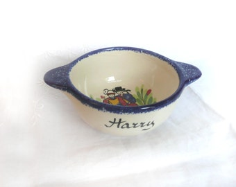 Vintage French bowl - vintage cafe au lait bowl - hand painted French bowl - Faiencerie french bowl - personalised Harry French bowl