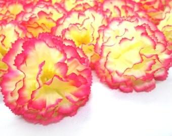 """2"""" Hawaiian Carnation Heads (Pack of 24) - Cream Pink Edge - Artificial Flower, Silk Flower Heads"""
