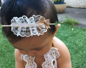 Vintage Lace Baby Headband with Burlap Bow, Rhinestone Lace Headband, Vintage Headband, Photo Prop, Infant Headband, Baby Girl Gift