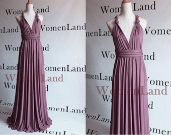 Mauve Color Floor Length Infinity Wrapping Convertible Bridesmaids Dresses Full Length Evening Gown Bespoke All Season Women Long Dress