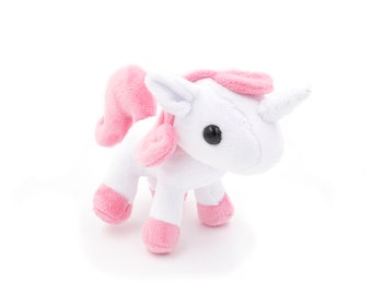 White and Pink Unicorn Plushie, Unicorn Stuffed Animal, Plush Toy, Softie