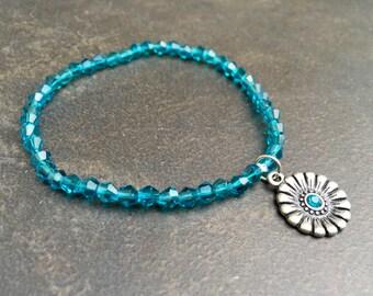 Dainty Crystal Bracelet, Stretch Bracelet, Crystal Stretch, Teal Crystal, Stacking Bracelet, Minimalist Jewelry, Gift Under 20   1242
