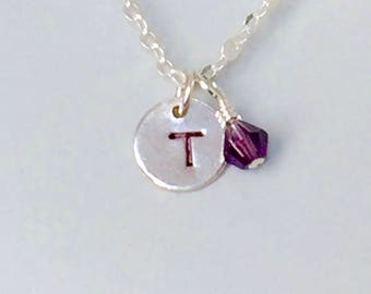 Initial Necklace, Silver Initial, Sterling Silver Disk, Personalized Jewelry, Birthstone Necklace, Dainty Silver, Gift for Her  1372