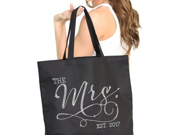 Mrs. Bag : Bride Tote, Jumbo Bride's Tote,  Bridal Shower Gift, Bachelorette Party, Engagement, Carryall