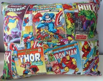 "Marvel Avengers Comic Books Capt America*Thor*Iron Man*Hulk*Spiderman*Super Heroes Cotton Fabric Pillow/Cushion~17"" x 14"""