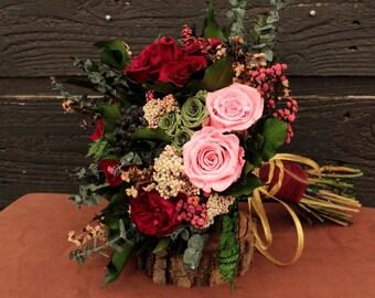 Preserved Rose Wedding Bouquet, Plum Wine, Pink, Green & Dark Fuchsia Bridal Bouquet and Boutonniere Set, Dried Flower Bouquet, Rose Bouquet