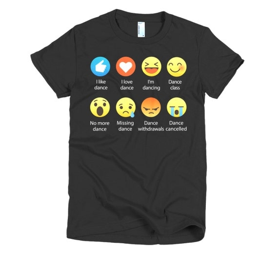 I Love DANCE Emoticon (emoji) Social Icon Sayings T-Shirts (Fine Jersey)