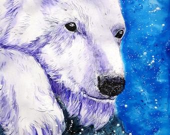 "Original mixed media painting animal,polar bear,cute ""Softpaw"""