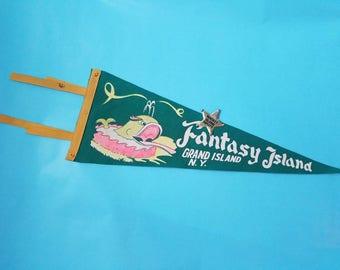 whale of a time - Fantasy Island pennant, Grand Island, New York amusement park souvenir, green felt, 18 inches