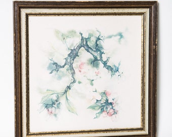 Apple Blossom Watercolor Meyer Garlen Lithograph Nature Art Wall Hanging Framed 1970s