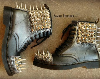 """Studded Spiked """"Dropout"""" Unisex Combat Boots"""