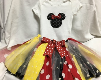 House of Mouse Tutu Outfit - Onesie and Hair Band included