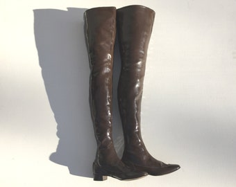 1960s very high brown vinyl over the knee boots  - size 7 gogo boots - 1960s vinyl boots - 1960s thigh high boots  - 1960s go go boots