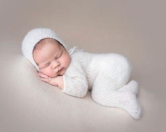 Newborn Footed Long Sleeve Onesie Romper and Bonnet set/ Luxury yarn Photography Prop/ Baby Alpaca Romper