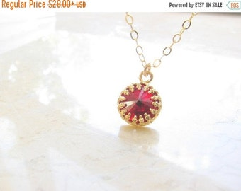 SALE - Red necklace - Red necklace gold, Dark red necklace, Red wine necklace, Gold necklace, Garnet necklace