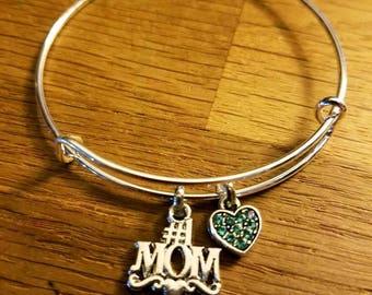 Number One Mom Silvertone Expandable Charm Bracelet