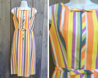Vintage dress | 1960s candy striped sleeveless shift dress with matching bow belt