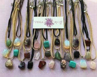 Polished Crystal Pendant Necklace - Leather, Vegan Leather, Stones, Choker, Multi